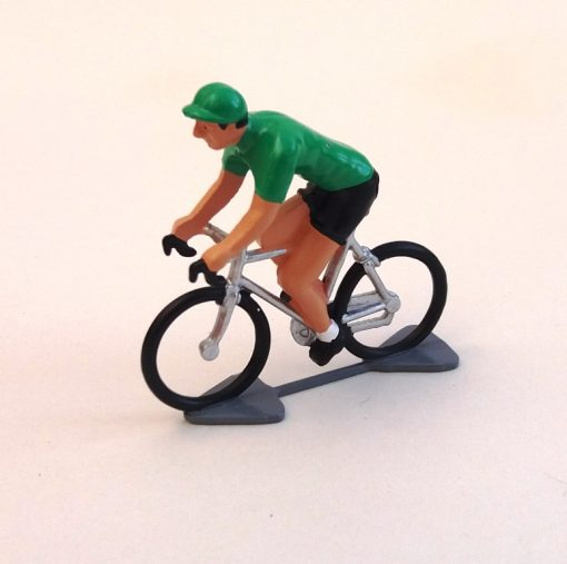green jersey mini cyclist figure