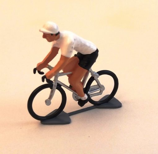 white jersey mini cyclist figure
