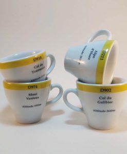 famous climbs road marker espresso cups