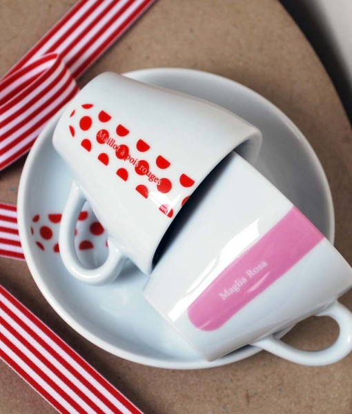 Espresso Cups with Grand Tour jersey designs, the ideal gift for a cyclist