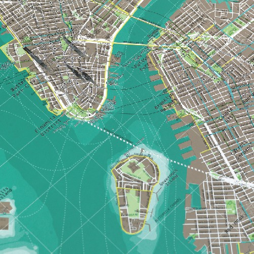 Street Map Of New York City.New York City Street Map With Cycle Routes Aqua