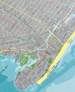 New York City Cycling Route Wandkarte