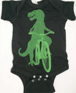 Dinosaur on a bike baby grow