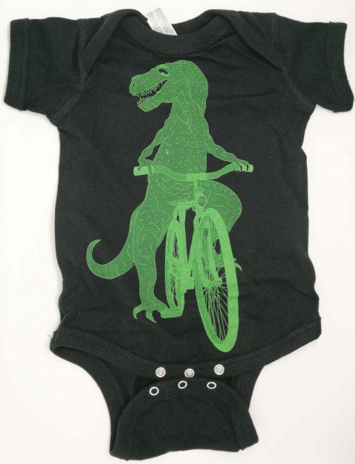 Dinosaur on a bike baby grow