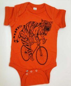 Tiger on a bike baby grow