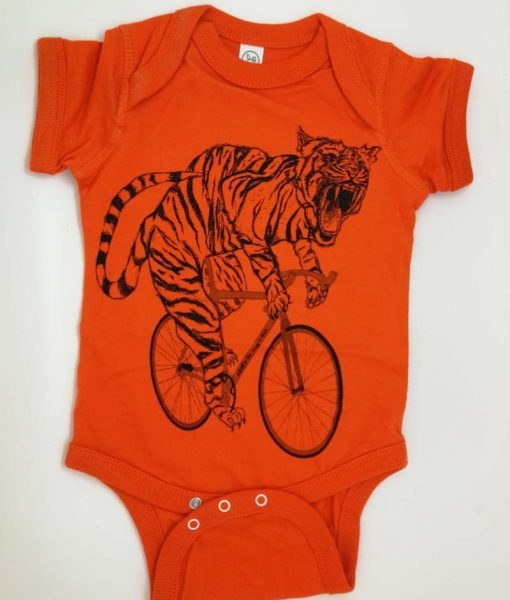 Tiger on a bike baby grow