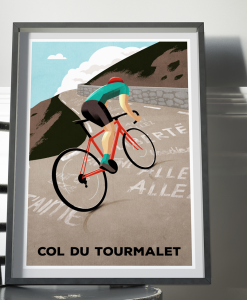 col du tourmalet cycling print