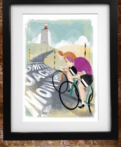 ventoux print GL personalised framed 2 cyclists