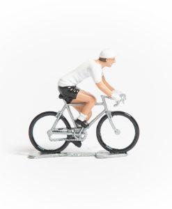 tdf white jersey mini cyclist figurine