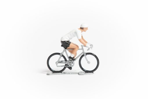 tdf white jersey mini cyclist figurine