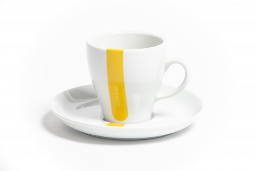 yellow jersey cappuccino cup
