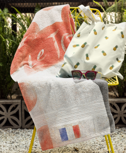 beach towel mock chair tdf polka