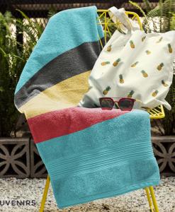 belgian flag towel on chair