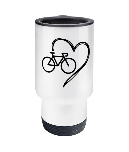 bike heart travel mug