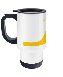 col du tourmalet yellow travel mug
