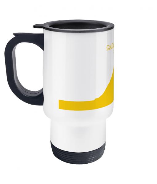 col du tourmalet yellow travel mug