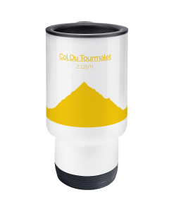 col du tourmalet yellow travel mug 2
