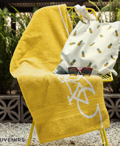 yellow background with bike towel