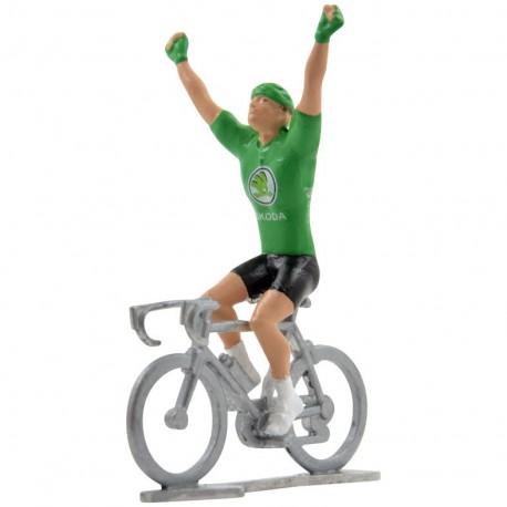 green jersey winner mini cyclist figure
