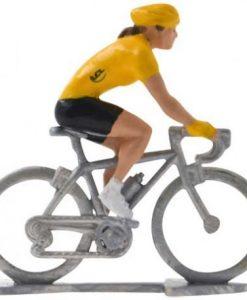 female yellow jersey mini cyclist figurine