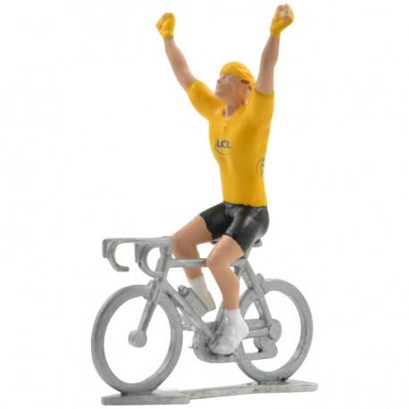 yellow jersey winner mini cyclist figurine